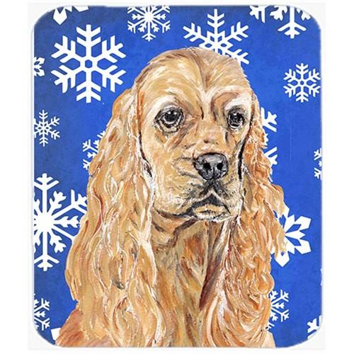 Carolines Treasures SC9598MP 7.75 x 9.25 in. Cocker Spaniel Blue Snowflake Winter Mouse Pad Hot Pad or Trivet