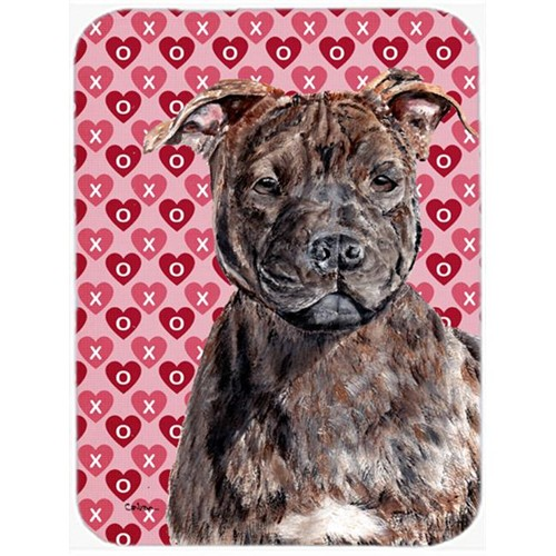 Carolines Treasures SC9705MP Staffordshire Bull Terrier Staffie Hearts And Love Mouse Pad Hot Pad Or Trivet 7.75 x 9.25 In.