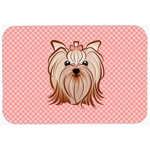 Carolines Treasures BB1204MP Checkerboard Pink Yorkie Yorkishire Terrier Mouse Pad Hot Pad Or Trivet 7.75 x 9.25 In.