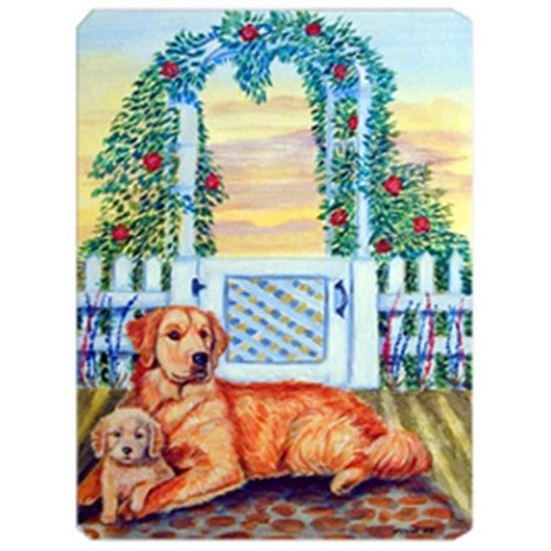 Carolines Treasures 7148MP 8 x 9.5 in. Golden Retriever with Puppy at the Gate Mouse Pad Hot Pad Or Trivet