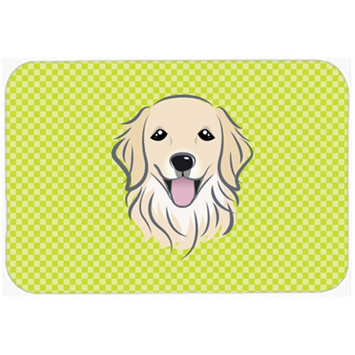 Carolines Treasures BB1267MP Checkerboard Lime Green Golden Retriever Mouse Pad Hot Pad Or Trivet 7.75 x 9.25 In.