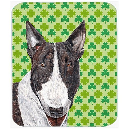 Carolines Treasures SC9575MP 7.75 x 9.25 In. Bull Terrier St Patricks Irish Mouse Pad Hot Pad or Trivet