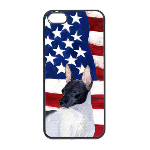 Carolines Treasures SS4054IP4 USA American Flag With Rat Terrier Iphone 4 Cover