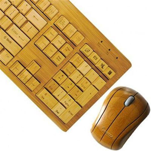 Impecca USA KBB600CW Bamboo wirelessKeyboard and Mous