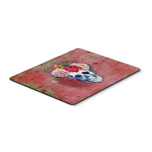 Carolines Treasures BB5130MP Day of the Dead Red Flowers Skull Mouse Pad Hot Pad or Trivet