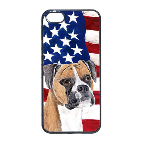 Carolines Treasures SC9113IP4 USA American Flag With Boxer Iphone 4 Cover