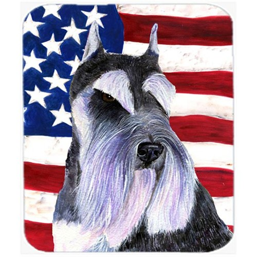 Carolines Treasures SS4056MP Usa American Flag With Schnauzer Mouse Pad Hot Pad Or Trivet