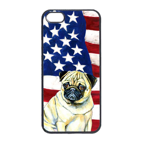 Carolines Treasures LH9002IP4 USA American Flag With Pug Iphone 4 Cover