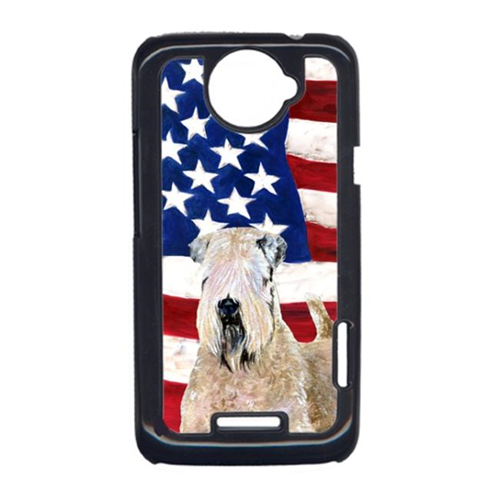 Carolines Treasures SS4019HTCONE USA American Flag With Wheaten Terrier Soft Coated HTC One X Cell Phone Cover