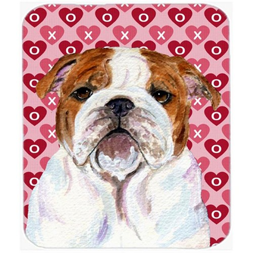 Carolines Treasures SS4484MP Bulldog English Hearts Love And Valentines Day Mouse Pad Hot Pad Or Trivet