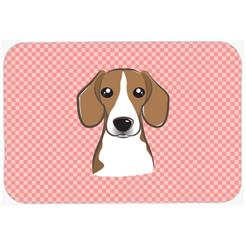 Carolines Treasures BB1239MP Checkerboard Pink Beagle Mouse Pad Hot Pad Or Trivet 7.75 x 9.25 In.