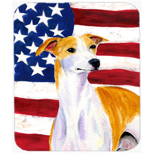 Carolines Treasures SS4246MP Usa American Flag With Whippet Mouse Pad Hot Pad Or Trivet