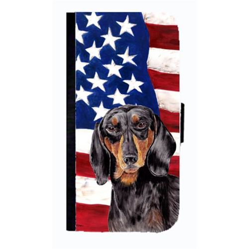 Carolines Treasures SC9003NBGALAXYS4 USA American Flag With Dachshund Cell Phonebook Case Cover For Galaxy 4S