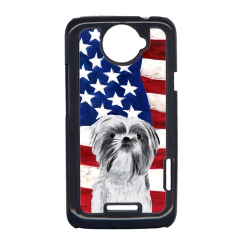 Carolines Treasures SC9015HTCONE USA American Flag With Shih Tzu HTC One X Cell Phone Cover