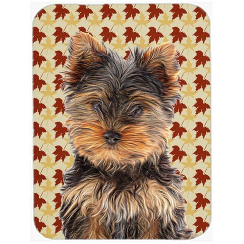 Carolines Treasures KJ1209MP Fall Leaves Yorkie Puppy & Yorkshire Terrier Mouse Pad Hot Pad or Trivet