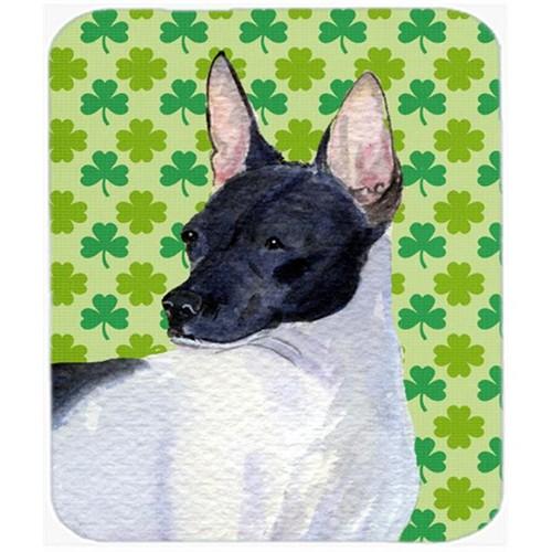 Carolines Treasures SS4411MP Rat Terrier St. Patricks Day Shamrock Portrait Mouse Pad Hot Pad Or Trivet