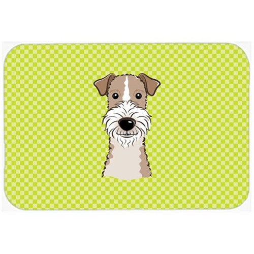 Carolines Treasures BB1309MP Checkerboard Lime Green Wire Haired Fox Terrier Mouse Pad Hot Pad Or Trivet 7.75 x 9.25 In.