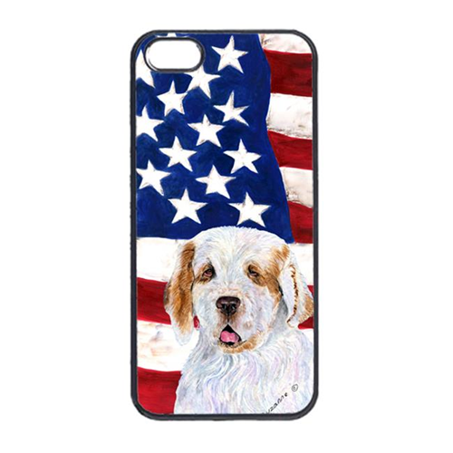 Carolines Treasures SS4027IP4 USA American Flag With Clumber Spaniel Iphone 4 Cover