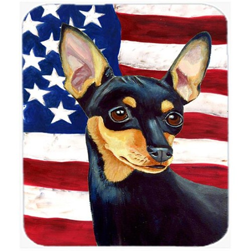 Carolines Treasures LH9004MP 9.5 x 8 in. USA American Flag with Min Pin Mouse Pad Hot Pad or Trivet
