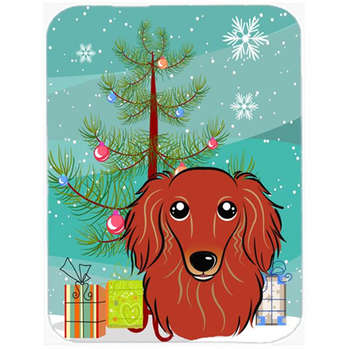 Carolines Treasures BB1586MP Christmas Tree And Longhair Red Dachshund Mouse Pad Hot Pad & Trivet