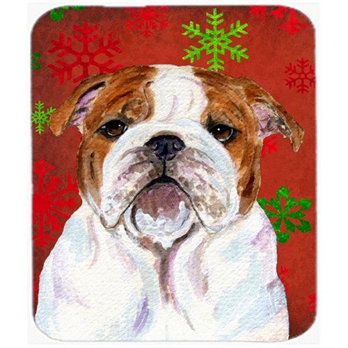 Carolines Treasures SS4691MP Bulldog English Red and Green Snowflakes Christmas Mouse Pad Hot Pad or Trivet