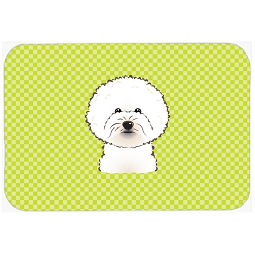 Carolines Treasures BB1279MP Checkerboard Lime Green Bichon Frise Mouse Pad Hot Pad Or Trivet 7.75 x 9.25 In.