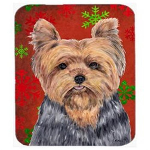 Carolines Treasures SC9428MP Yorkie Red And Green Snowflakes Holiday Christmas Mouse Pad Hot Pad Or Trivet