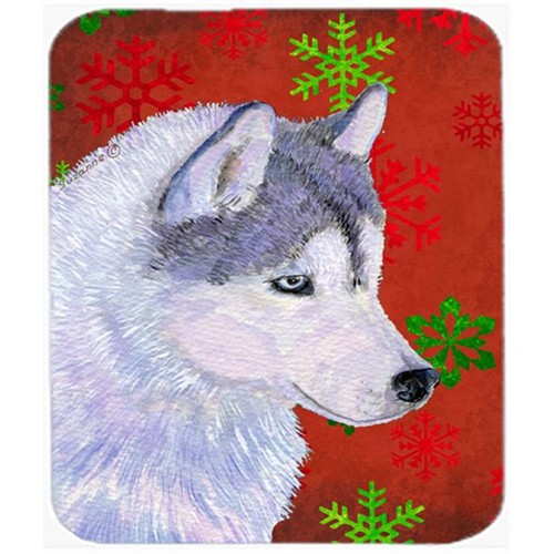 Carolines Treasures SS4671MP Siberian Husky Red and Green Snowflakes Christmas Mouse Pad Hot Pad or Trivet
