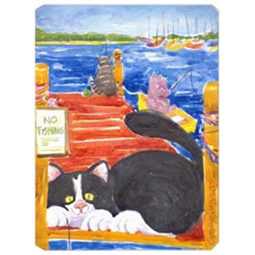 Carolines Treasures 6001MP 9.5 x 8 in. Black and White Cat No Fishing Mouse Pad