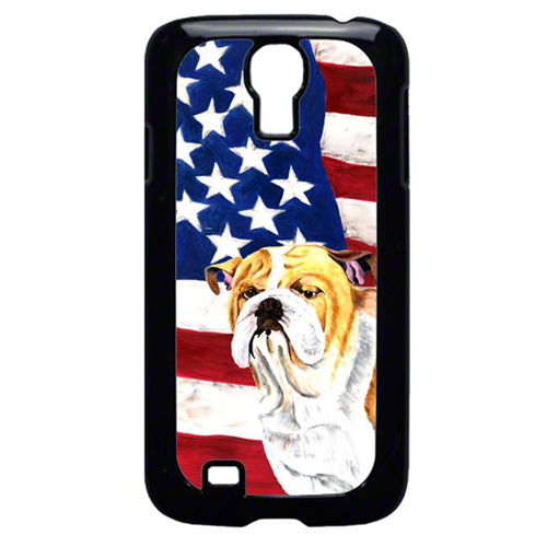 Carolines Treasures SC9002GALAXYS4 USA American Flag with Bulldog English Cell Phone Cover GALAXY S4