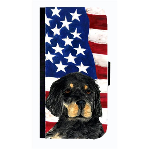 Carolines Treasures SS4042NBGALAXYS4 USA American Flag With Gordon Setter Cell Phonebook Case Cover For Galaxy 4S