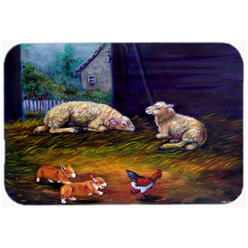 Carolines Treasures 7322MP Corgi Chaos In The Barn With Sheep Mouse Pad Hot Pad & Trivet