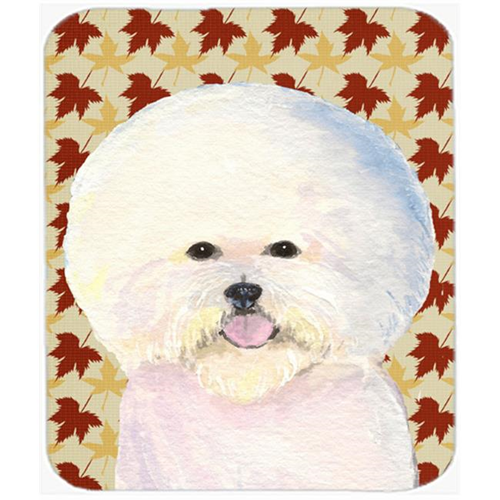 Carolines Treasures SS4330MP Bichon Frise Fall Leaves Portrait Mouse Pad Hot Pad Or Trivet