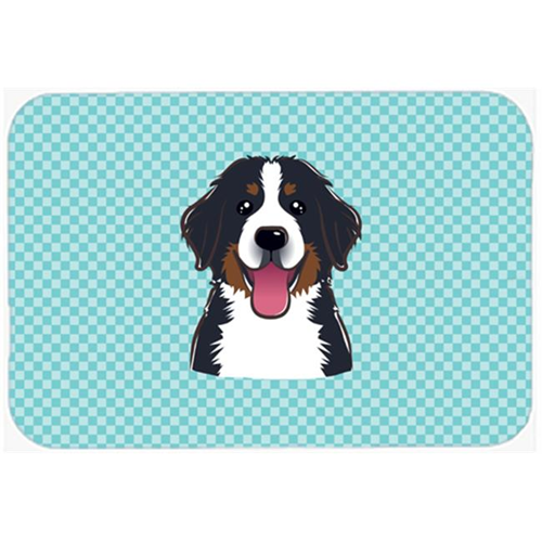 Carolines Treasures BB1175MP Checkerboard Blue Bernese Mountain Dog Mouse Pad Hot Pad Or Trivet 7.75 x 9.25 In.