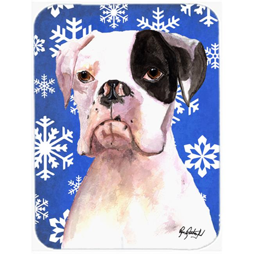 Carolines Treasures RDR3003MP 7.75 x 9.25 In. Cooper Winter Snowflakes Boxer Mouse Pad Hot Pad or Trivet