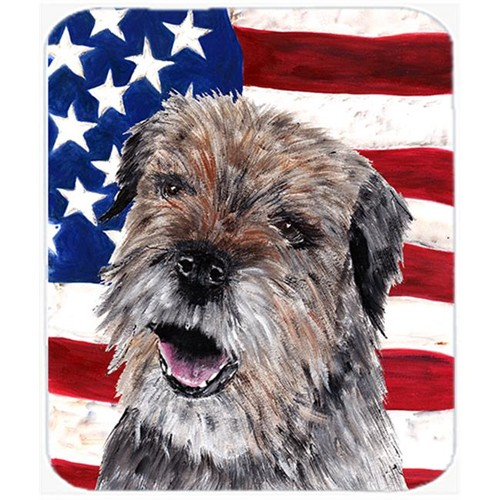 Carolines Treasures SC9515MP 7.75 x 9.25 In. Border Terrier Mix USA American Flag Mouse Pad Hot Pad or Trivet