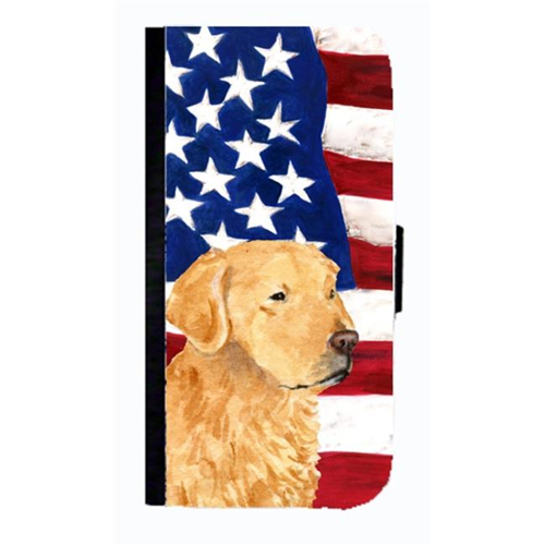 Carolines Treasures SS4055NBGALAXYS4 USA American Flag With Golden Retriever Cell Phone Case Cover For Galaxy 4S