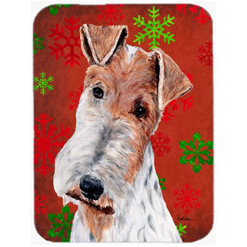 Carolines Treasures SC9748MP Wire Fox Terrier Red Snowflakes Holiday Mouse Pad Hot Pad Or Trivet 7.75 x 9.25 In.