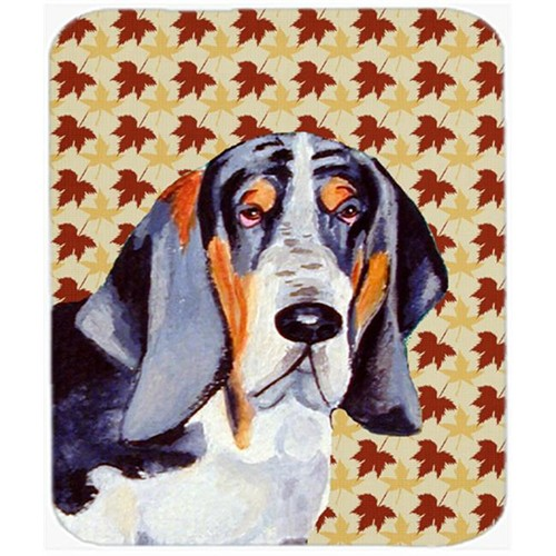 Carolines Treasures LH9102MP Basset Hound Fall Leaves Portrait Mouse Pad Hot Pad Or Trivet