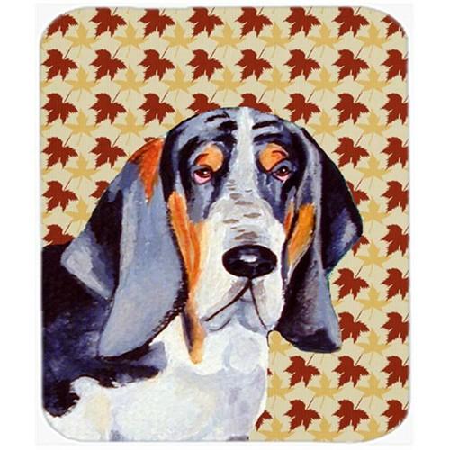 Carolines Treasures LH9102MP Basset Hound Fall Leaves Portrait Mouse Pad Hot Pad Or Trivet