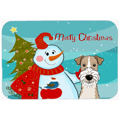 Carolines Treasures BB1867MP Snowman With Wire Haired Fox Terrier Mouse Pad Hot Pad & Trivet