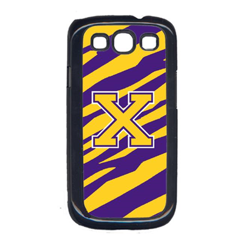 Carolines Treasures CJ1022-X-GALAXYSIII Tiger Stripe - Purple Gold Letter X Monogram Initial Galaxy S111 Cell Phone Cover