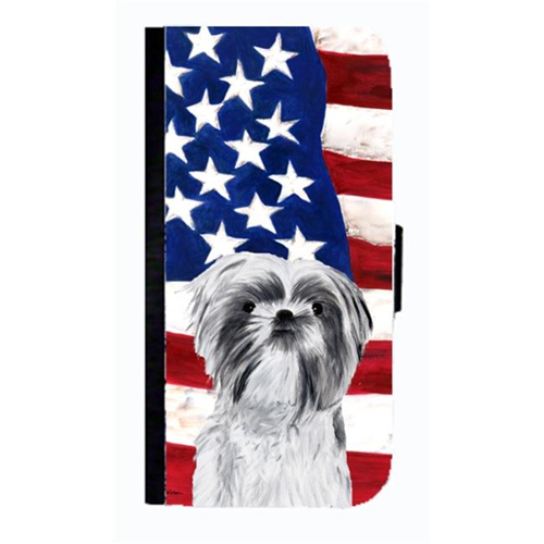 Carolines Treasures SC9015NBGALAXYS4 USA American Flag With Shih Tzu Cell Phonebook Case Cover For Galaxy 4S