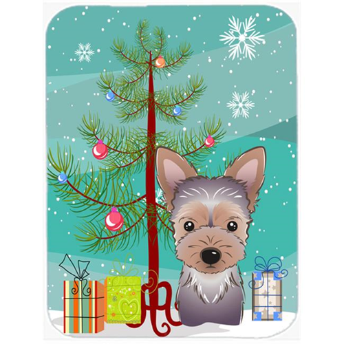 Carolines Treasures BB1604MP Christmas Tree And Yorkie Puppy Mouse Pad Hot Pad & Trivet