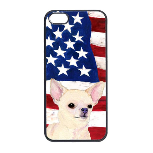 Carolines Treasures SS4228IP4 USA American Flag With Chihuahua Iphone 4 Cover