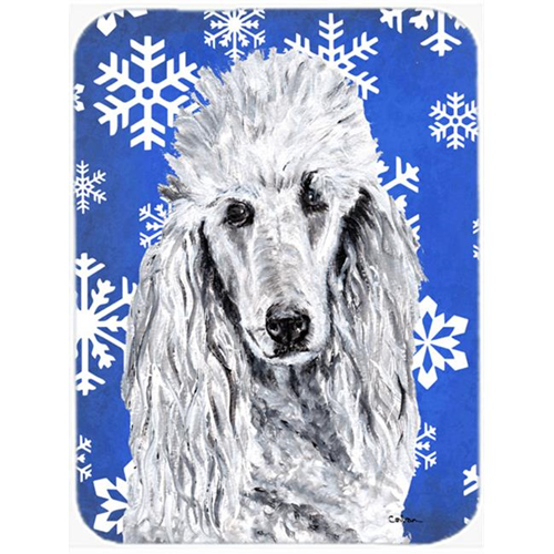 Carolines Treasures SC9775MP White Standard Poodle Winter Snowflakes Mouse Pad Hot Pad Or Trivet 7.75 x 9.25 In.