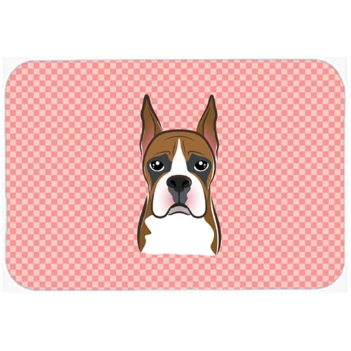 Carolines Treasures BB1223MP Checkerboard Pink Boxer Mouse Pad Hot Pad Or Trivet 7.75 x 9.25 In.
