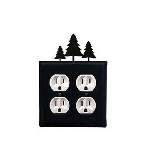 Village Wrought Iron EOO-20 Pine Trees Double Outlet Cover - Black