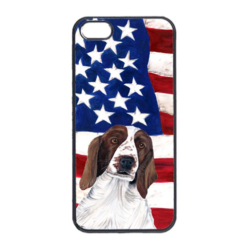 Carolines Treasures SC9024IP4 USA American Flag With Welsh Springer Spaniel Iphone 4 Cover