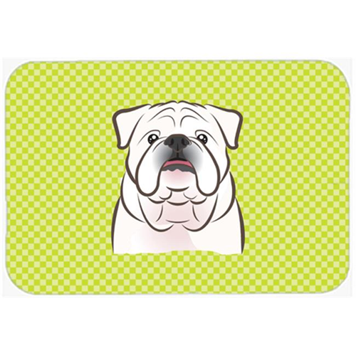 Carolines Treasures BB1282MP Checkerboard Lime Green White English Bulldog Mouse Pad Hot Pad Or Trivet 7.75 x 9.25 In.